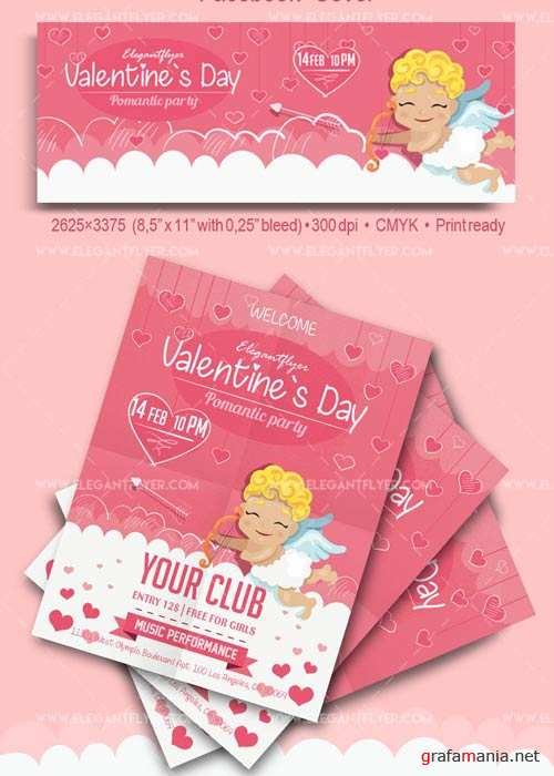 Valentine`s Day Party V25 2018 Flyer PSD Template + Facebook Cover