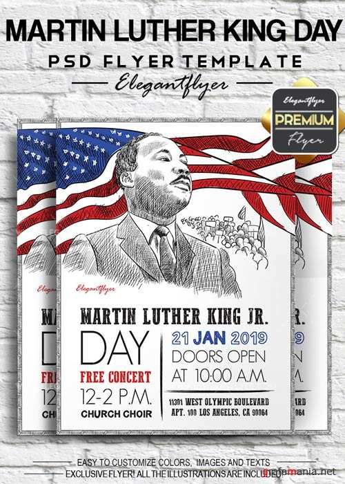 Martin Luther King Day V1 2018 Flyer PSD Template + Facebook Cover