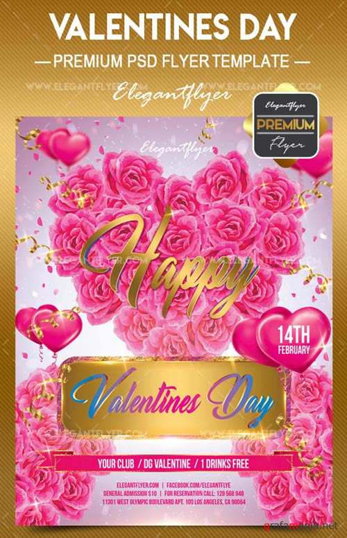 Valentines day V27 2018 Flyer PSD Template + Facebook Cover
