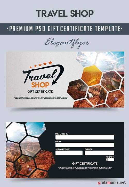 Travel Shop V1 2018 Premium Gift Certificate PSD Template