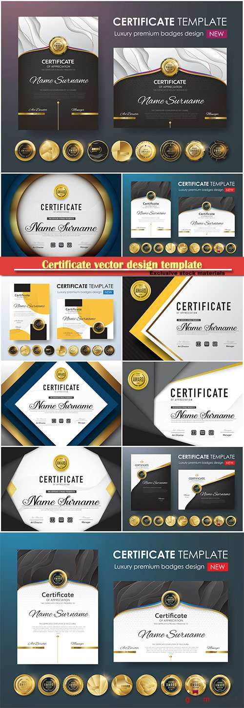 Certificate and vector diploma design template # 52