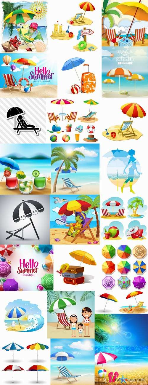 Beach umbrella illustration summer beach vacation beach vacation parasol 25 EPS