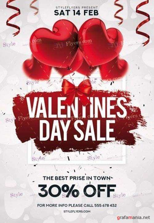 Valentines Day Sale V29 2018 PSD Flyer Template