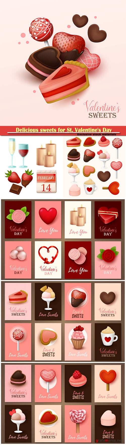 Delicious sweets for St. Valentine's Day vector