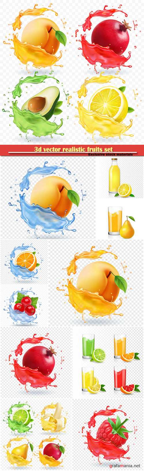 3d vector realistic fruits set, banana, apple, lime, pear juice splashes