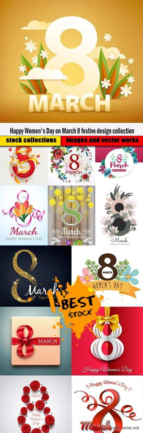 Happy Women's Day on March 8 festive design collection