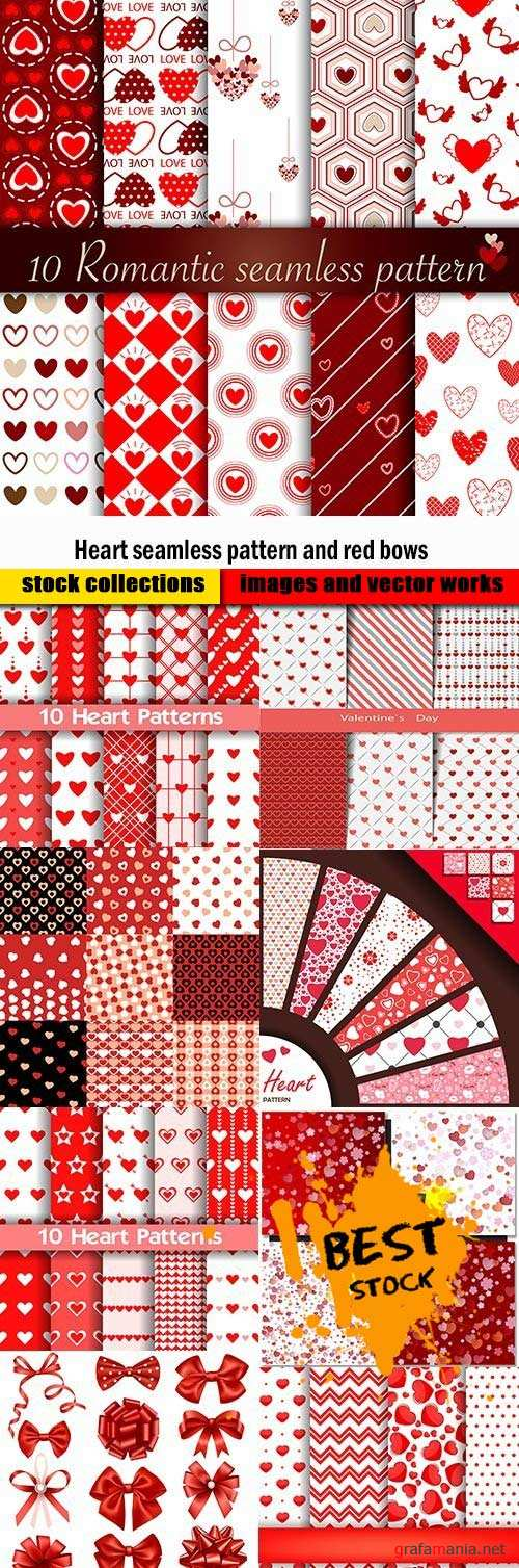 Heart seamless pattern and red bows