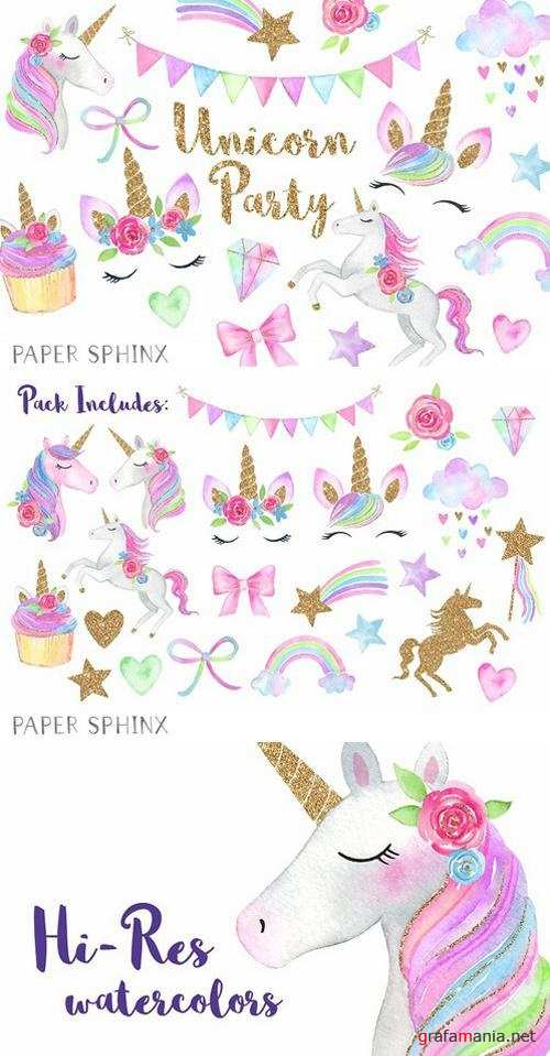 Watercolor Unicorn Party Clipart 2204998
