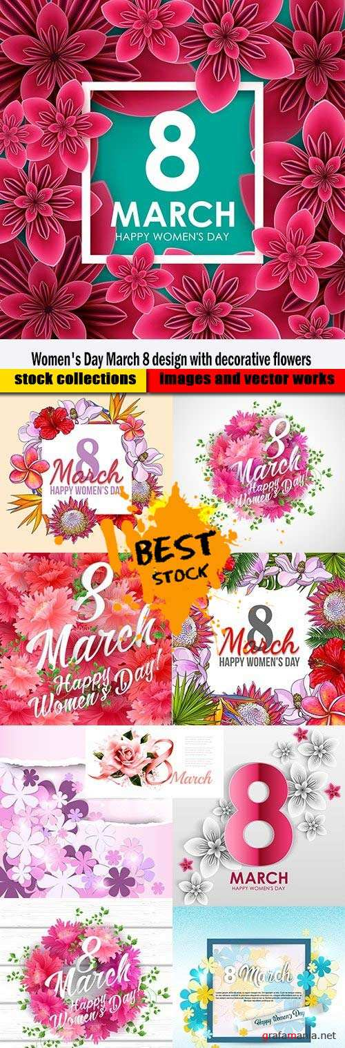 Women's Day March 8 design with decorative flowers