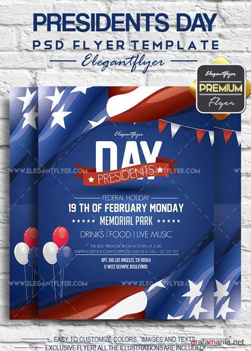 Presidents Day V2 2018 Flyer PSD Template + Facebook Cover