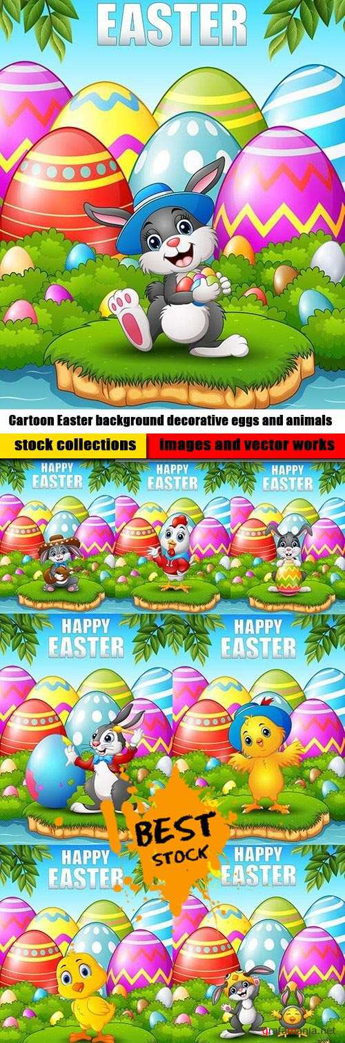 Cartoon Easter background decorative eggs and animals