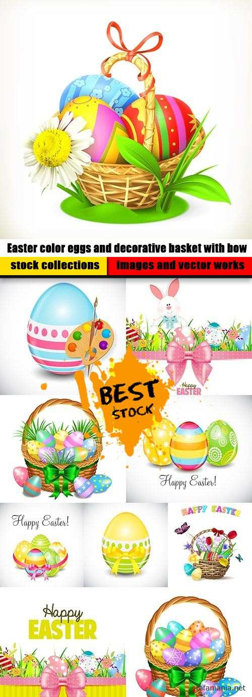 Easter color eggs and decorative basket with bow