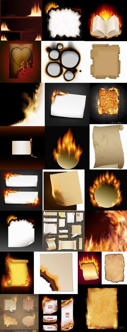 Singed paper frame pattern background decoration fire 25 EPS