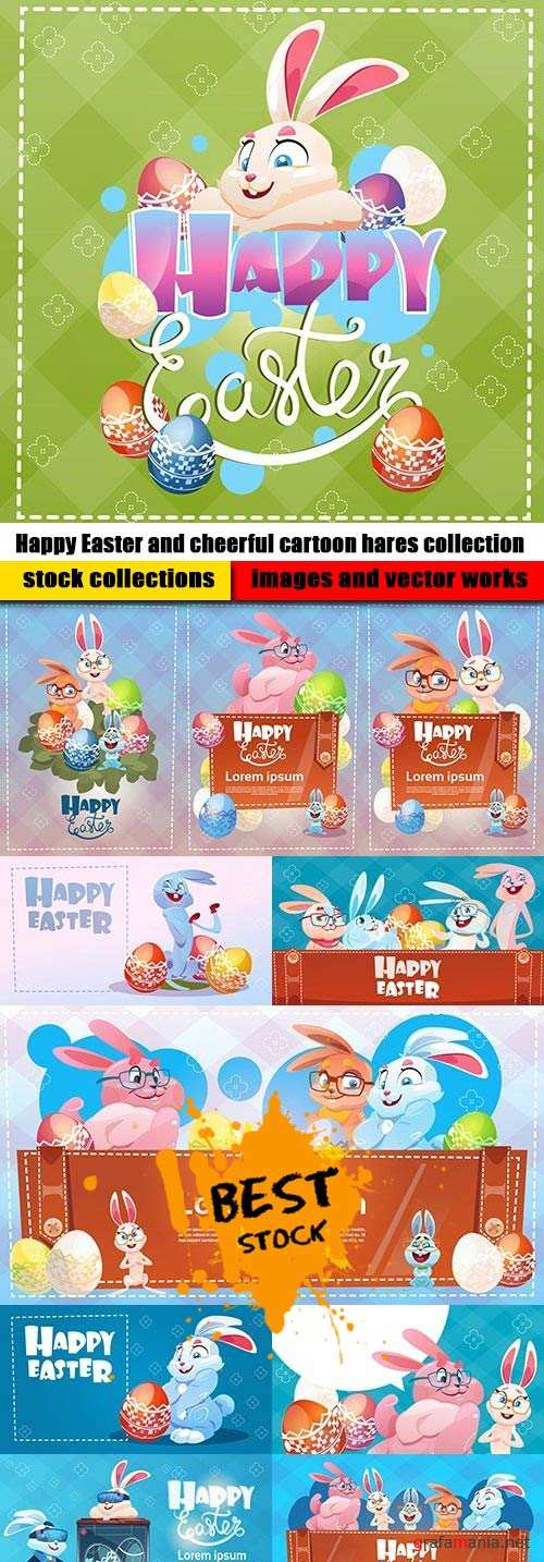 Happy Easter and cheerful cartoon hares collection