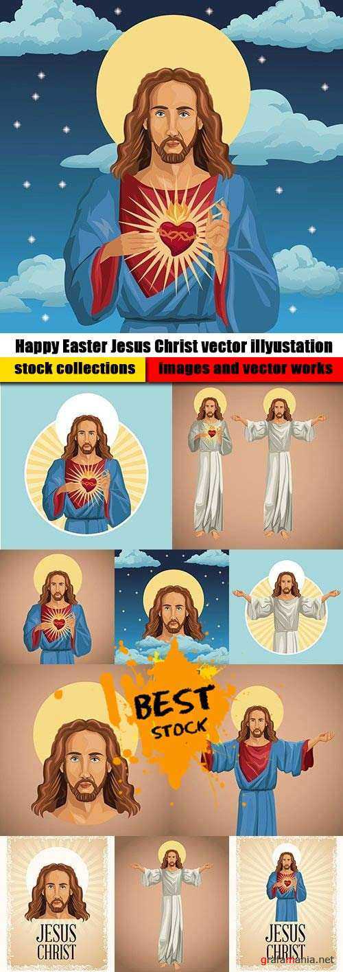 Happy Easter Jesus Christ vector illyustation