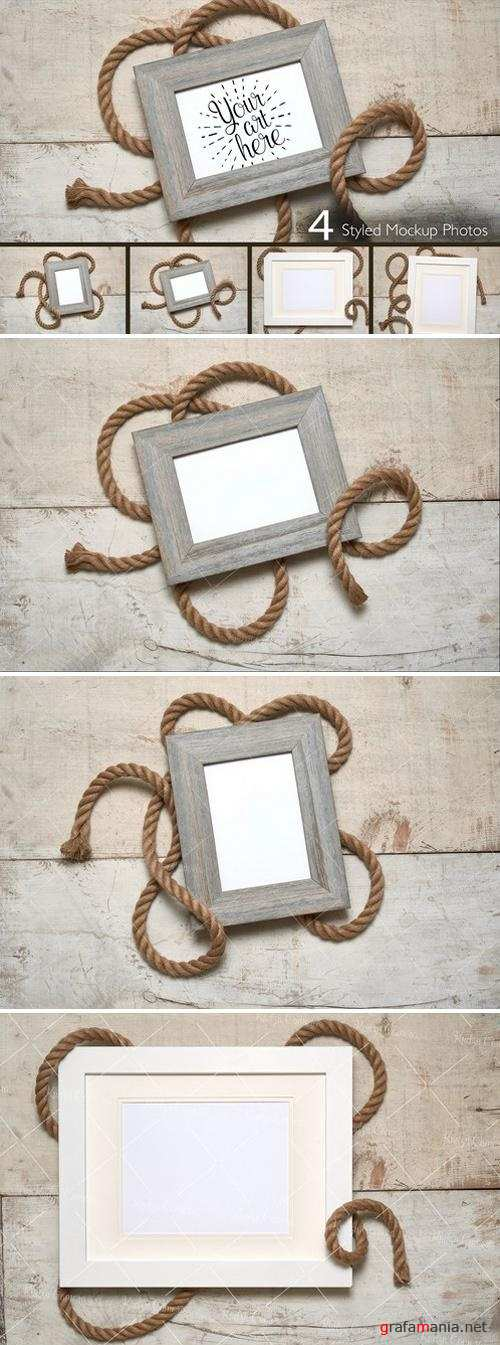 Nautical Frame Rope on White Wood 2204961