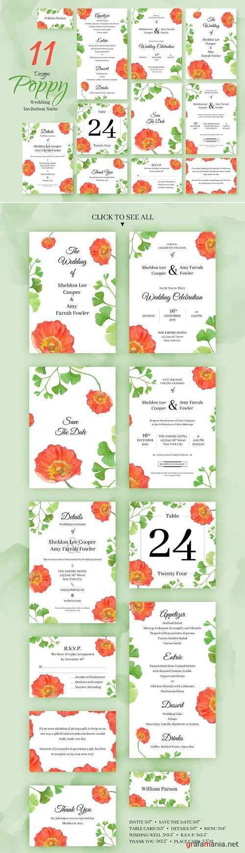 Poppy. Wedding Invitation Package 2236180