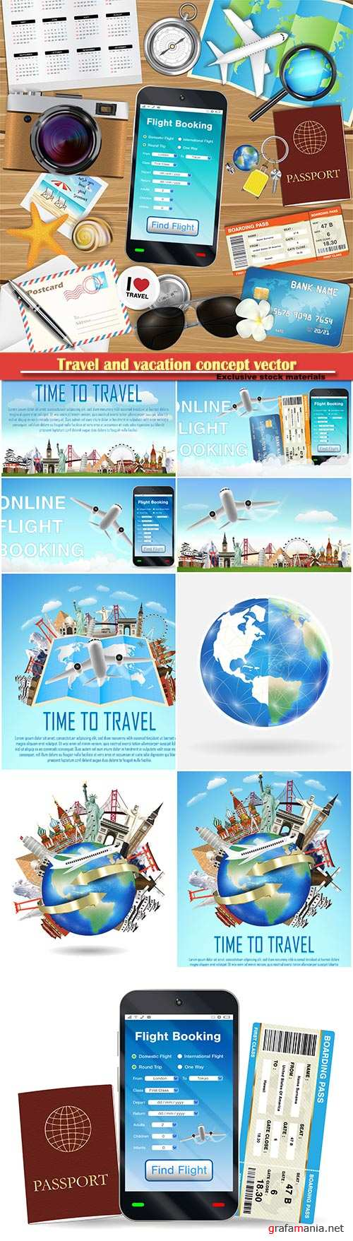 Travel and vacation concept vector illustration