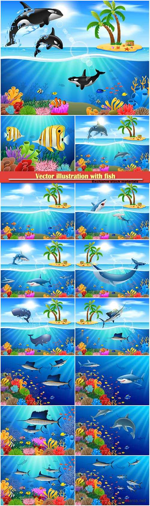 Underwater world, vector illustration with fish