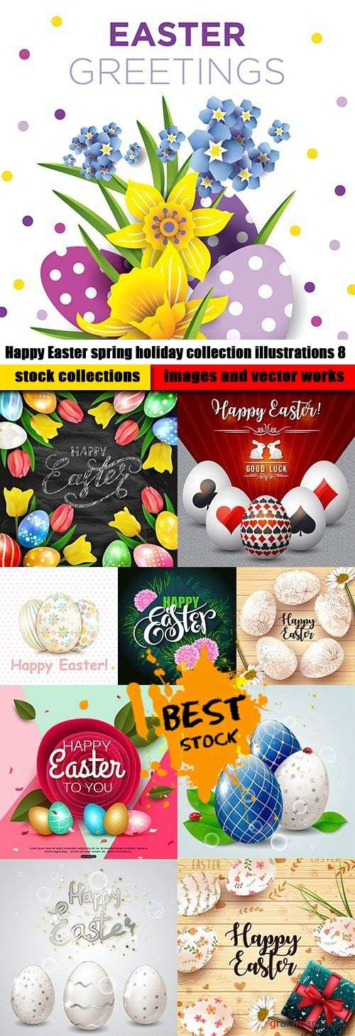 Happy Easter spring holiday collection illustrations 8