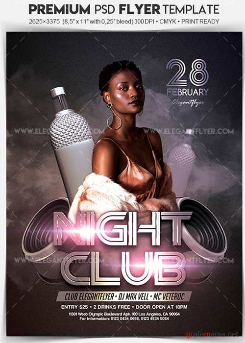 Nightclub V1 2018 Flyer PSD Template + Facebook Cover