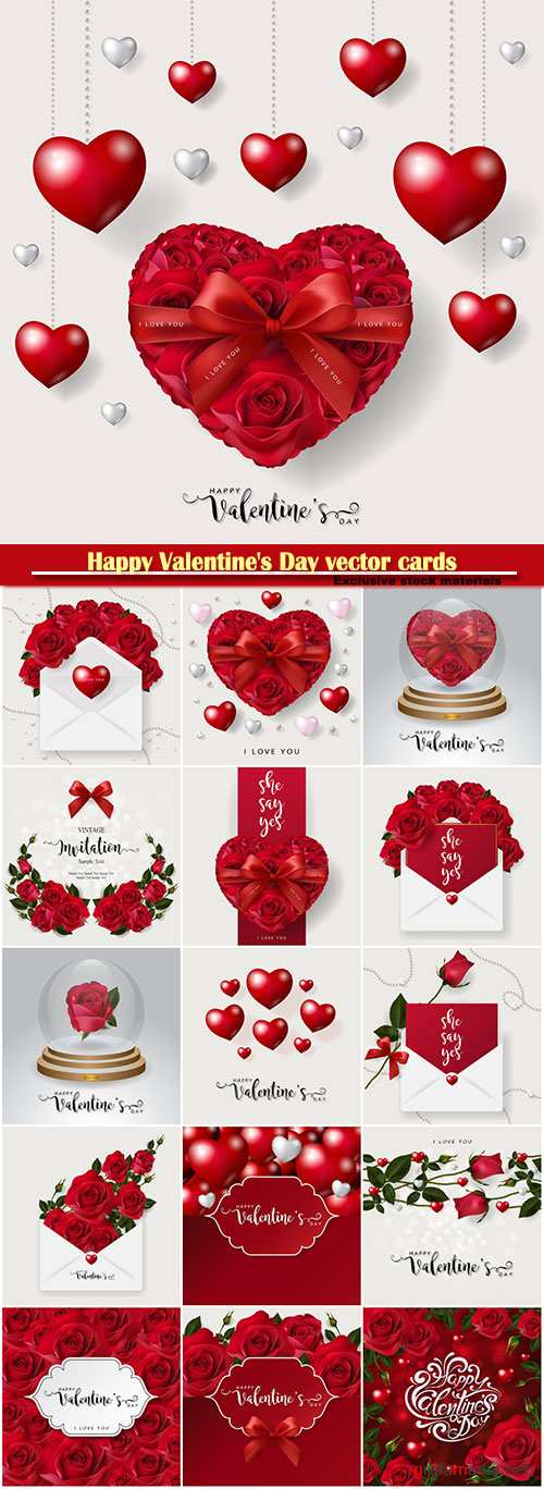 Happy Valentine's Day vector cards, red roses and hearts, romantic backgrounds # 5