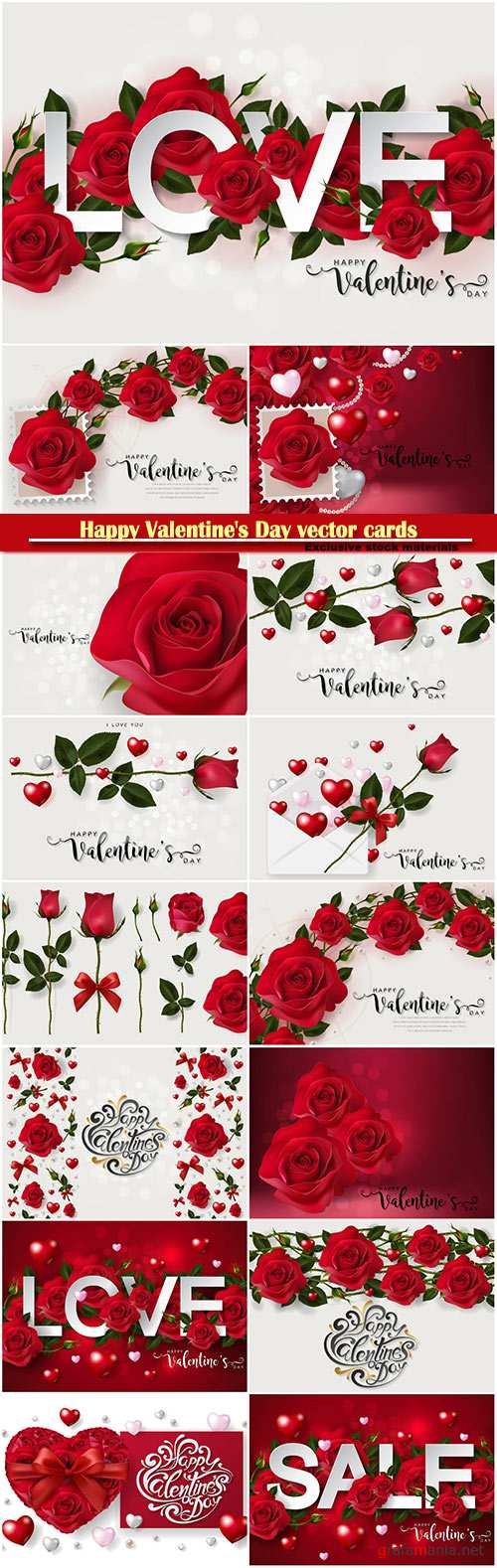 Happy Valentine's Day vector cards, red roses and hearts, romantic backgrounds
