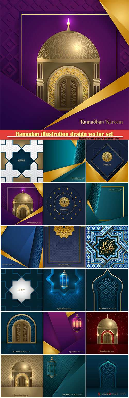 Ramadan illustration design vector set