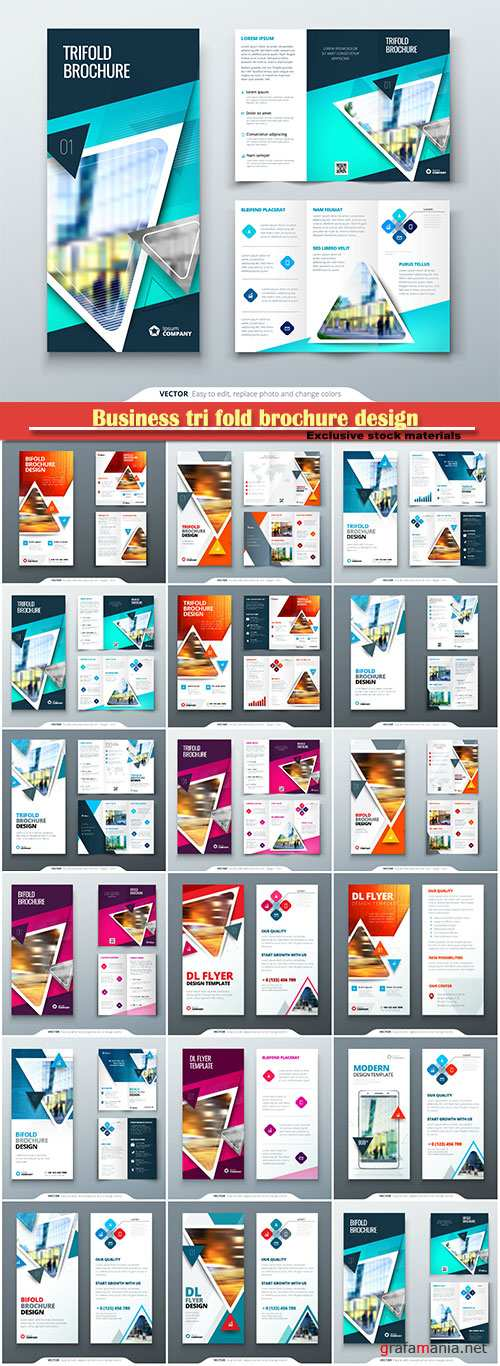 Business tri fold brochure design, corporate business template, creative concept folded flyer or brochure