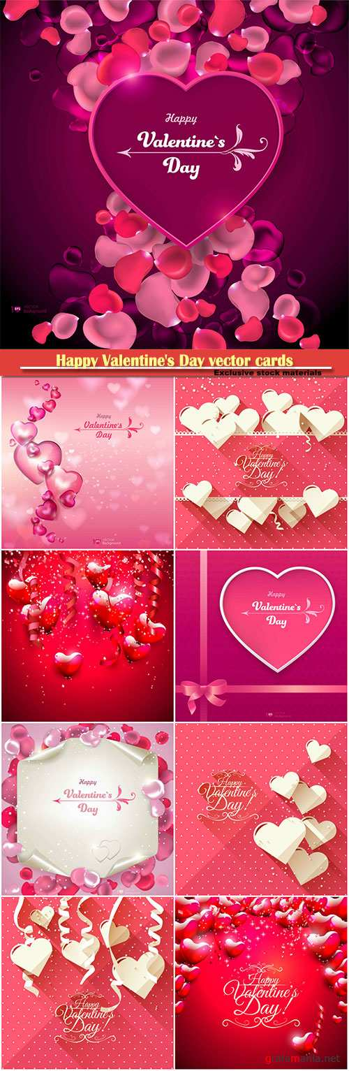 Happy Valentine's Day vector cards, red roses and hearts, romantic backgrounds # 7
