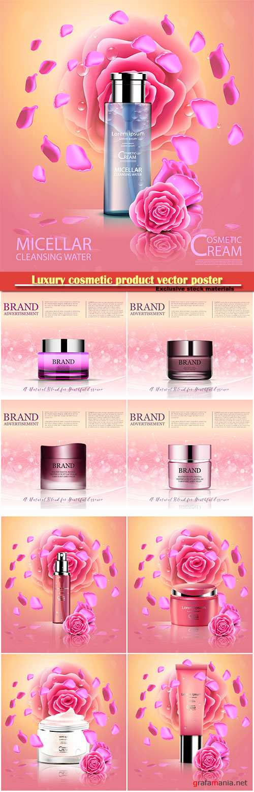 Luxury cosmetic product vector poster, rose and bokeh background