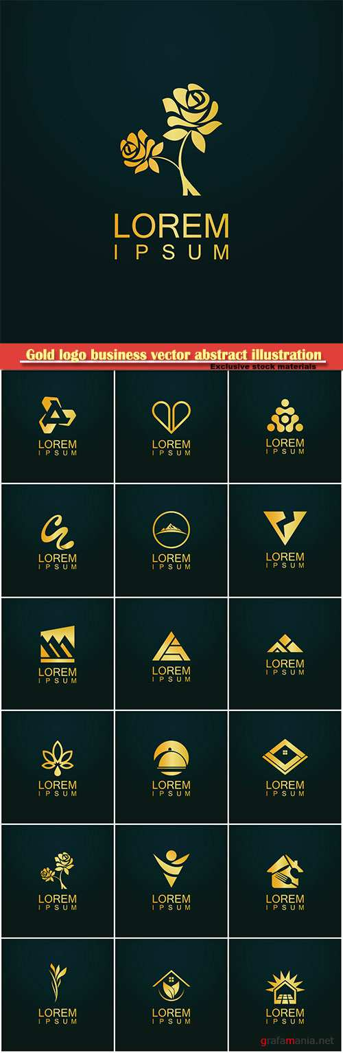 Gold logo business vector abstract illustration # 40