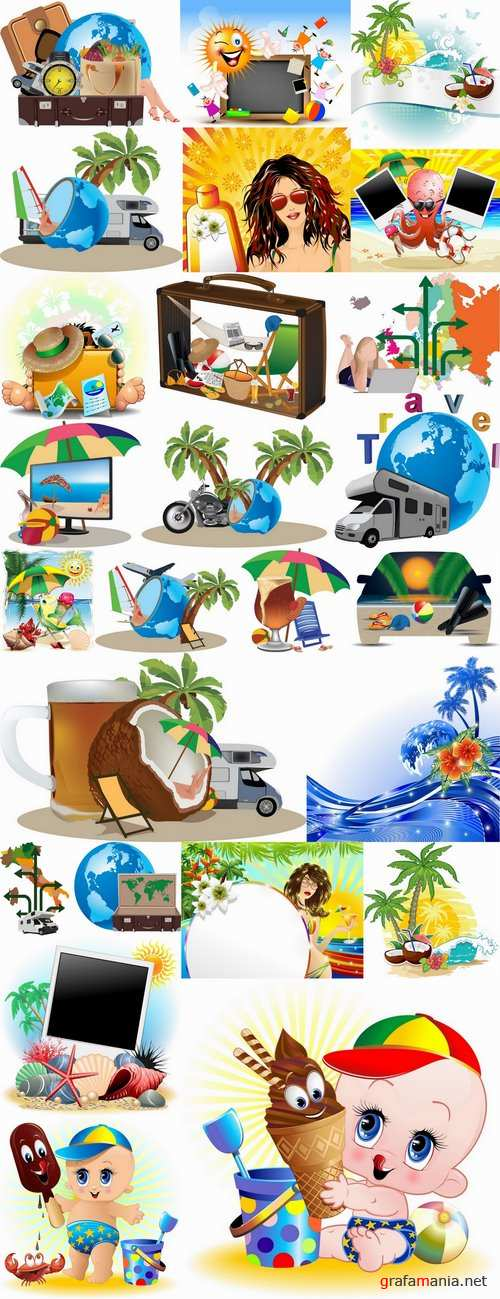 Travel vacation beach vacation drink juice vector image 2-25 EPS