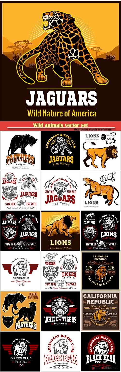 Wild animals vector set, club t-shirt vector logo, lion, tiger, leopard, panther, bear