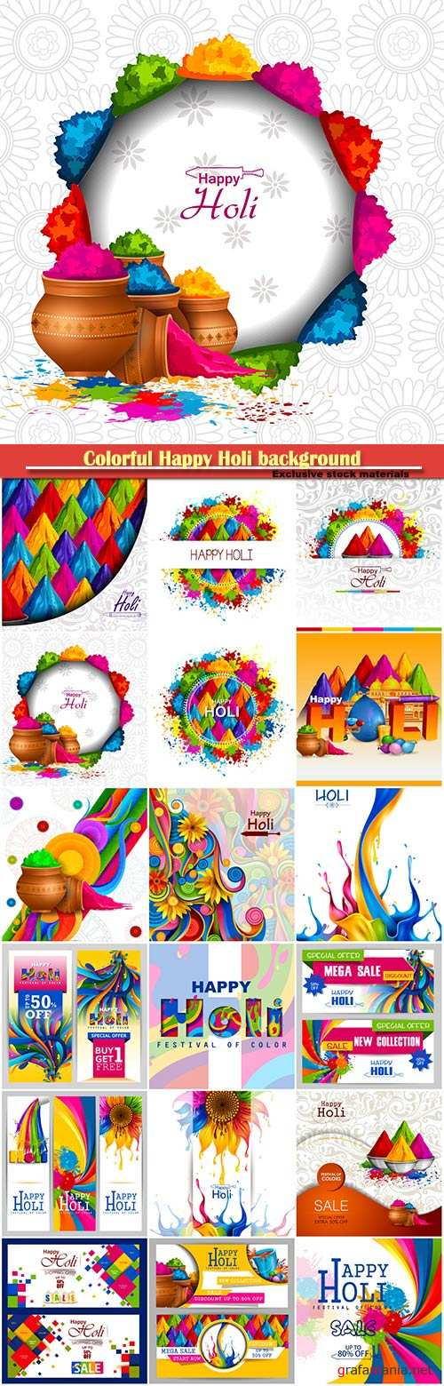 Colorful Happy Holi background for festival in India vector illustration