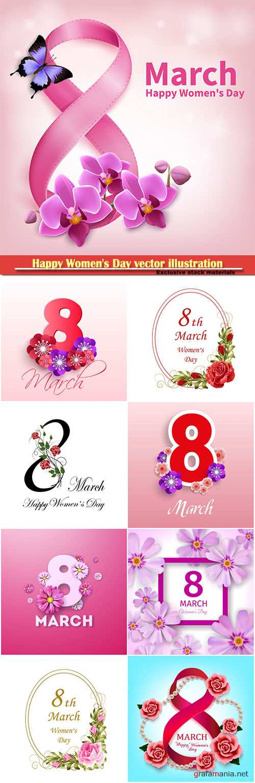 Happy Women's Day vector illustration,8 March, spring flower background # 4