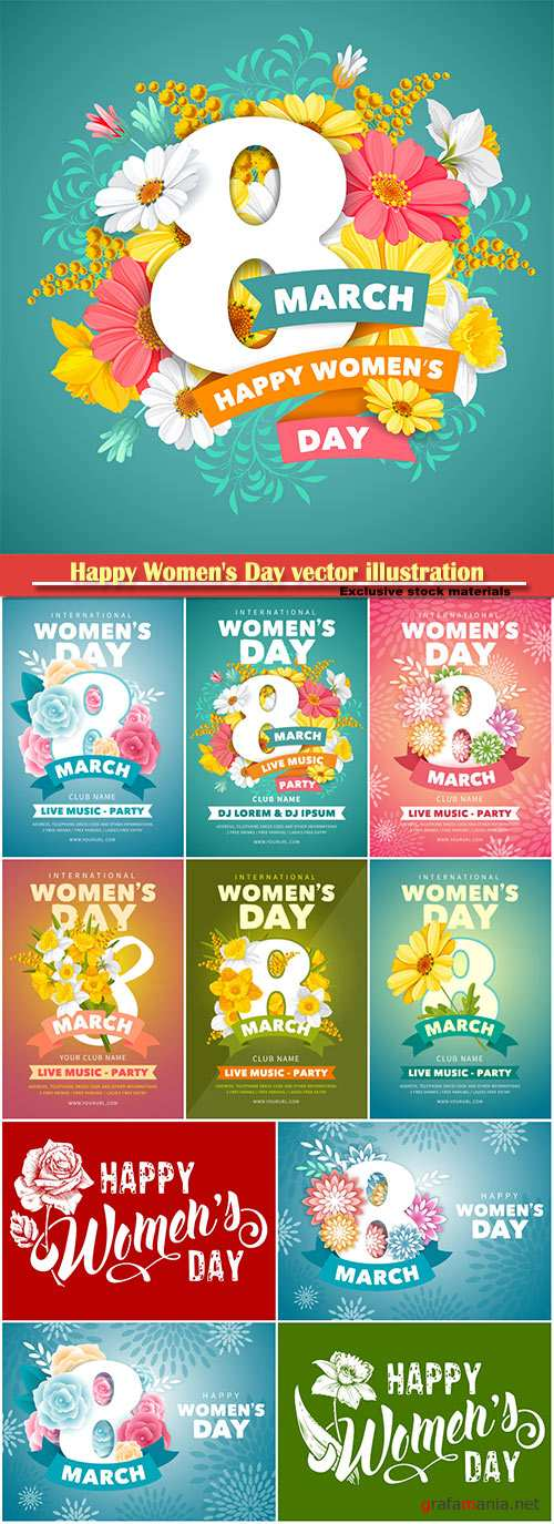 Happy Women's Day vector illustration,8 March, spring flower background # 2