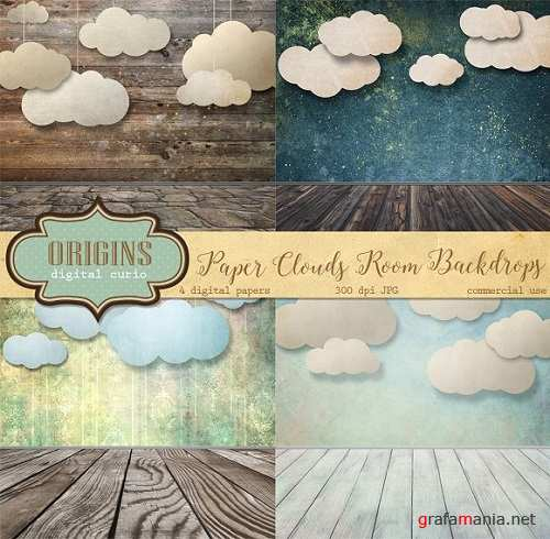 Paper Clouds Room Backdrops - 573176