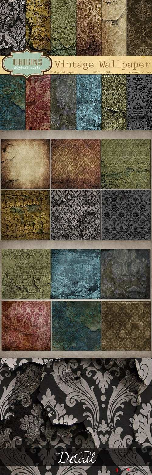 Vintage Damask Wallpaper Textures - 517587