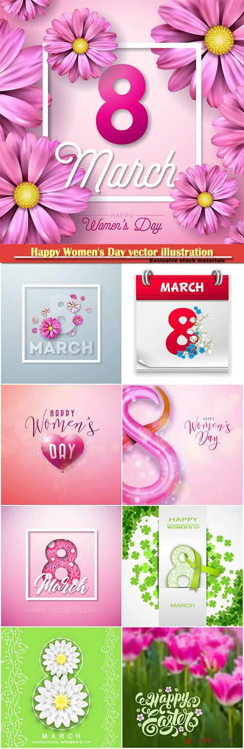 Happy Women's Day vector illustration,8 March, spring flower background # 8