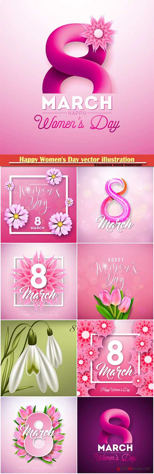 Happy Women's Day vector illustration,8 March, spring flower background # 6