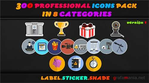 Animated Icons_300 Motion Icons - After Effects Project (Videohive)