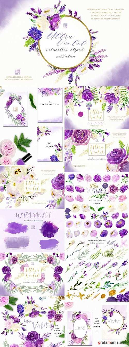 Ultra violet watercolor flowers 2257826
