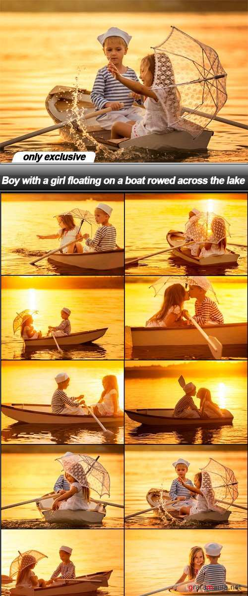 Boy with a girl floating on a boat rowed across the lake - 10 UHQ JPEG