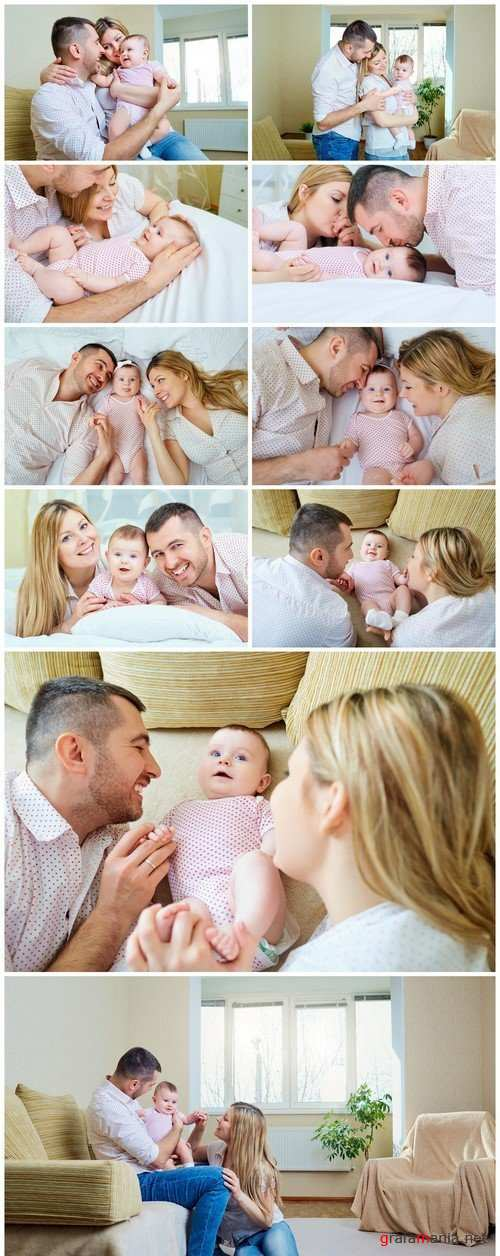 Happy family Parents with baby on the bed Closeup 10X JPEG