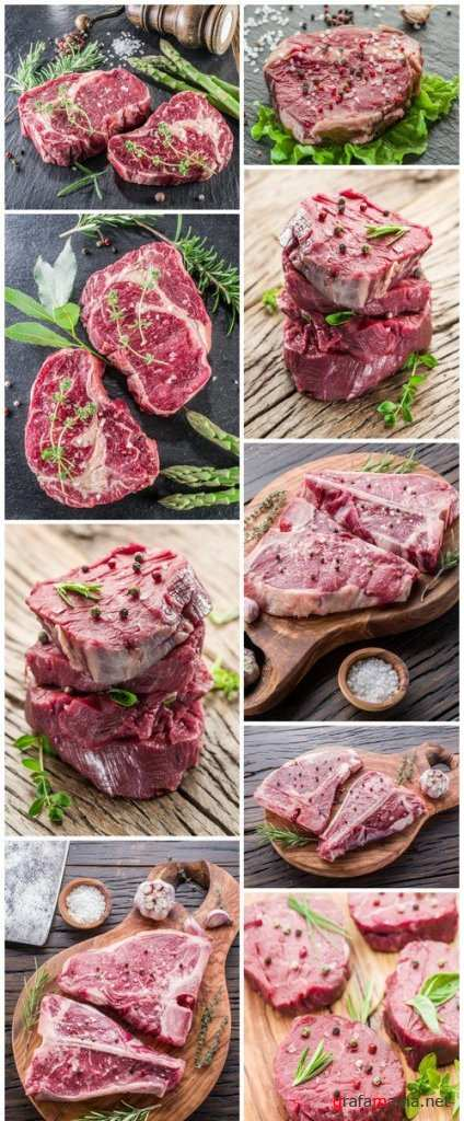 Pieces of beef tenderloin on the wooden cutting board 9X JPEG