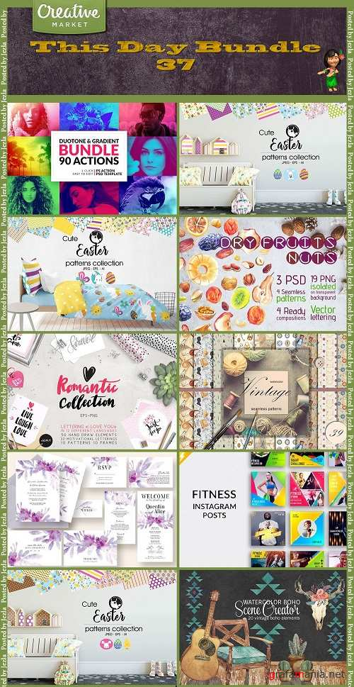 This Day Bundle 37 - Actions, Patterns, Cliparts, Scraps, Mockups