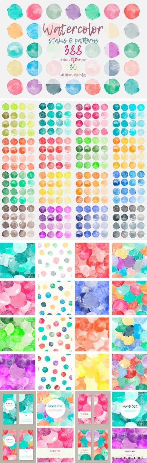 Big Set Watercolor Stains & Patterns - 2294133