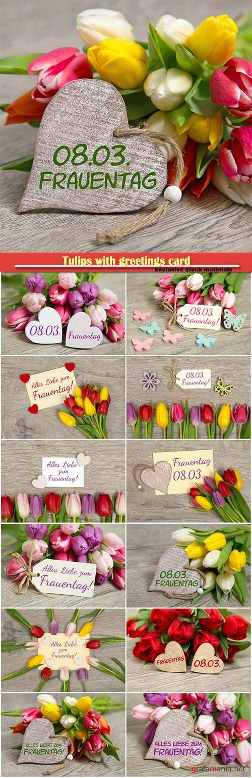 Tulips with greetings card
