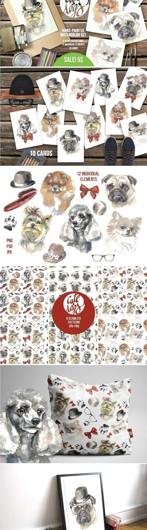 Cute Dogs Watercolor Set - 2164782